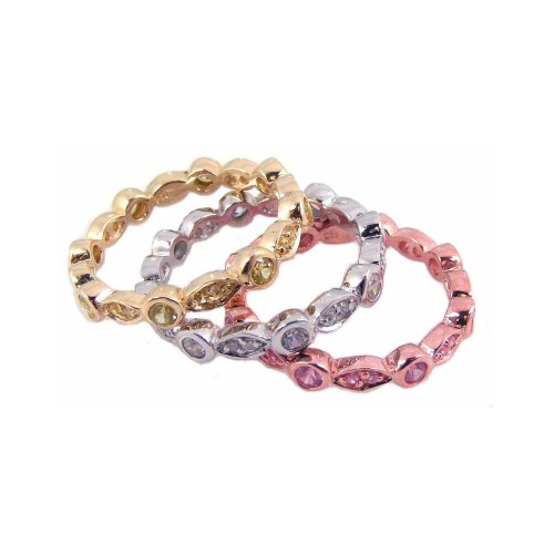 Wholesale Sterling Silver 925 Rhodium, Gold, and Rose Gold Plated Multi Color CZ Stackable Ring - STR00454