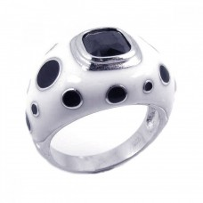 **Closeout** Sterling Silver Rhodium Plated Black & White Enamel Black CZ Ring str00456
