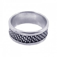 **Closeout** Sterling Silver Oxidized Rhodium Plated Rugged Ring str00458