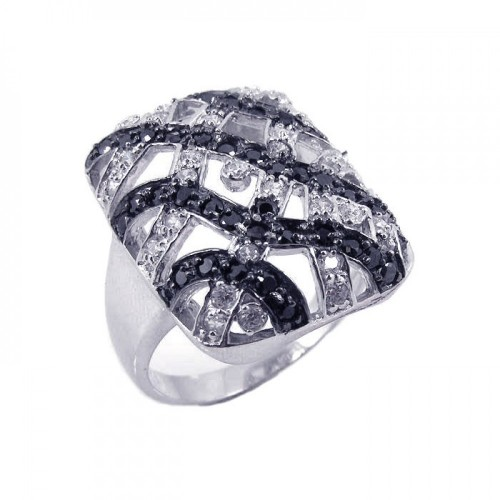 -Closeout- Wholesale Sterling Silver 925 Rhodium and Black Rhodium Plated Black and Clear CZ Square Button Ring - STR00459