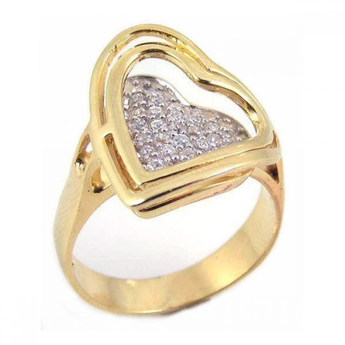 -Closeout- Wholesale Sterling Silver 925 Gold Plated Pave Set CZ Heart Ring - STR00460