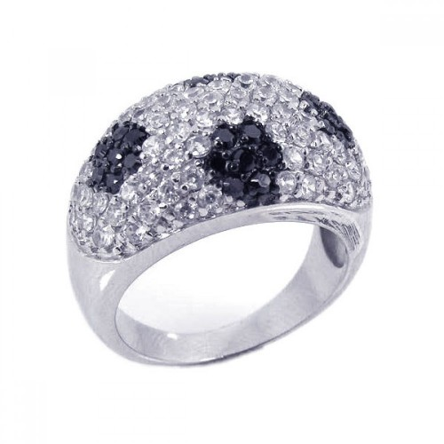 -Closeout- Wholesale Sterling Silver 925 Rhodium and Black Rhodium Plated Black and Clear CZ Dome Ring - STR00461