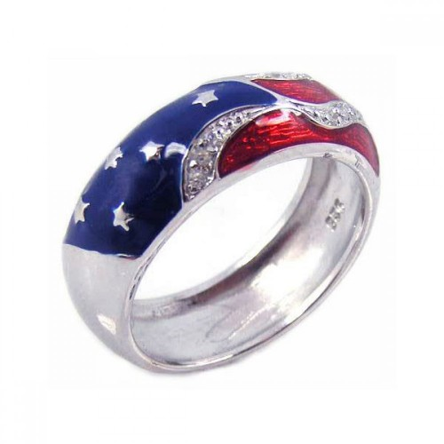 Wholesale Sterling Silver Rhodium Plated Red, White, and Blue Enamel Pave Set CZ America Ring - STR00473