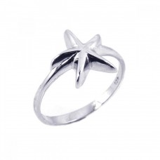 Sterling Silver Rhodium Plated Starfish Ring - STR00474
