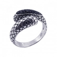 **Closeout** Sterling Silver Oxidized Rhodium & Black Rhodium Plated Black CZ Textured Ring str00479