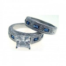 Sterling Silver Rhodium Plated Blue Baguette & Clear CZ Ornate Ring str00482
