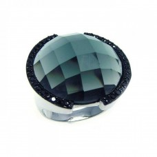 Sterling Silver Rhodium and Black Rhodium Plated Black CZ Dome Ring - STR00487