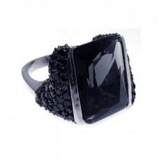 **Closeout** Sterling Silver Rhodium & Black Rhodium Plated Pave Set Black CZ Square Ring str00488