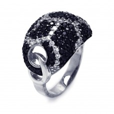 **Closeout** Sterling Silver Rhodium & Black Rhodium Plated Clear & Black CZ Dome Ring STR00489
