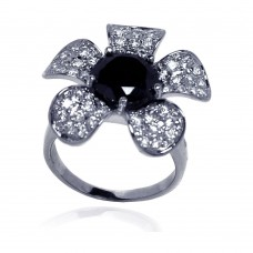 **Closeout** Sterling Silver Rhodium Plated Black Center Pave Set Clear CZ Flower Ring STR00490