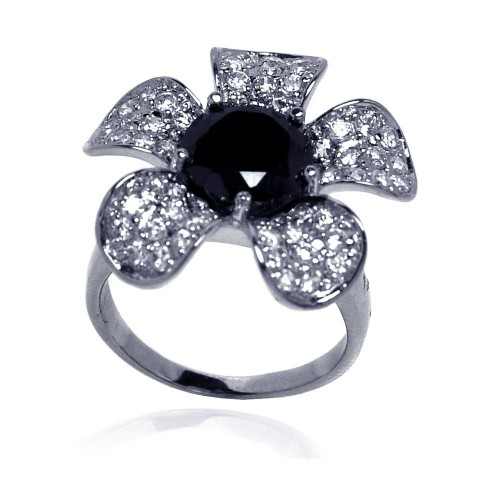 -Closeout- Wholesale Sterling Silver 925 Rhodium Plated Black Center Pave Set Clear CZ Flower Ring - STR00490