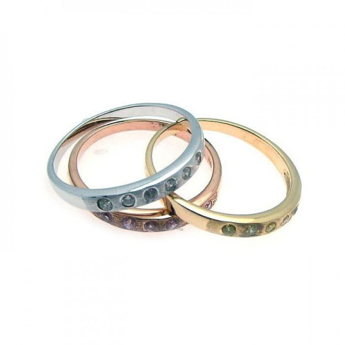 -Closeout- Wholesale Sterling Silver 925 Rhodium, Gold and Rose Gold Plated CZ Stackable Ring Set - STR00491