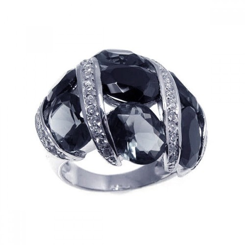 -Closeout- Wholesale Sterling Silver 925 Rhodium Plated Black Gray and Clear CZ Ring - STR00494