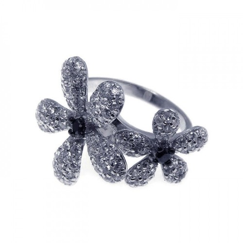 -Closeout- Wholesale Sterling Silver 925 Rhodium Plated Black and Pave Set Clear CZ Flower Ring - STR00495