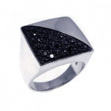 **Closeout** Sterling Silver Rhodium & Black Rhodium Plated Half Pave Set Black CZ Square Ring str00499
