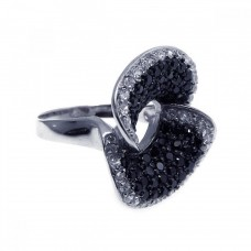 **Closeout** Sterling Silver Rhodium & Black Rhodium Plated Pave Set Black & Clear CZ Ring str00501