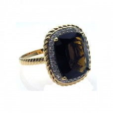 **Closeout** Sterling Silver Rhodium & Gold Plated Plated Brown Center & Clear Cluster CZ Ring str00503