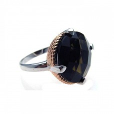 **Closeout** Sterling Silver Rhodium & Rose Gold Plated Rope Black CZ Ring str00504