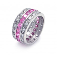 Wholesale Sterling Silver 925 Rhodium Plated Clear and Pink CZ Channel Eternity Ring - STR00508PNK