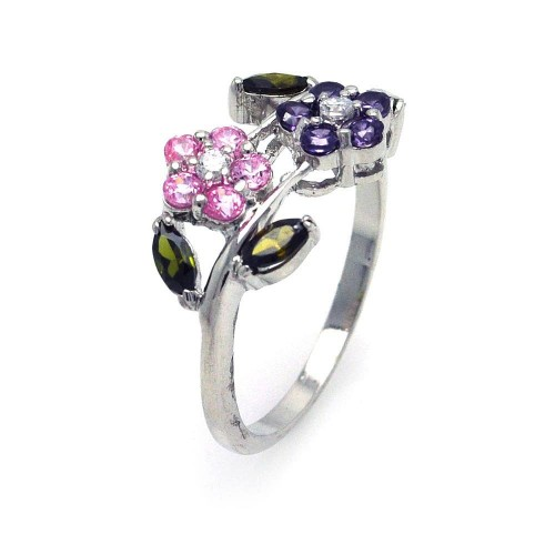 Wholesale Sterling Silver 925 Rhodium Plated Multi Colored CZ Flower Ring - STR00509