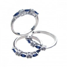 Wholesale Sterling Silver 925 Rhodium Plated Blue and Clear CZ Ring Set - STR00510