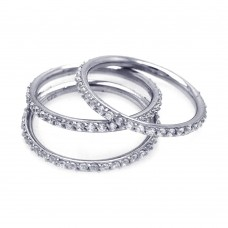 Wholesale Sterling Silver 925 Rhodium Plated CZ Stackable Ring Set - STR00513