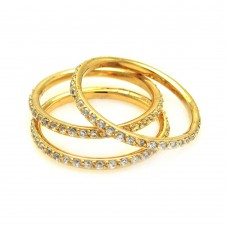 Wholesale Sterling Silver 925 Gold Plated CZ Stackable Ring Set - STR00513GP