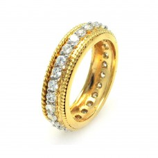 Wholesale Sterling Silver 925 Gold Plated Rope Border CZ Eternity Ring - STR00514