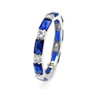 Wholesale Sterling Silver 925 Rhodium Plated Blue Baguette Clear CZ Eternity Ring - STR00516BLU