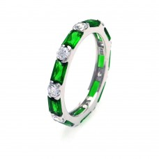 Sterling Silver Rhodium Plated Green Baguette Clear CZ Eternity Ring str00516green