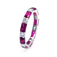 Wholesale Sterling Silver 925 Rhodium Plated Red Baguette Clear CZ Eternity Ring - STR00516RED