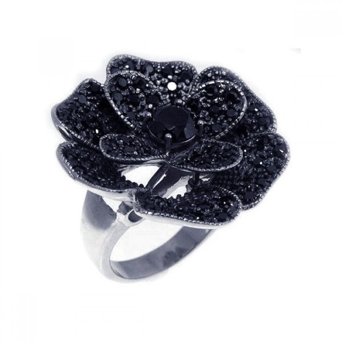 -Closeout- Wholesale Sterling Silver 925 Rhodium and Black Rhodium Plated Black Pave Set CZ Flower Ring - STR00521BLK