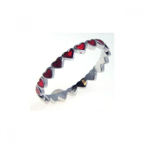 Wholesale Sterling Silver 925 Rhodium Plated Red Enamel Eternity Heart Ring - STR00527