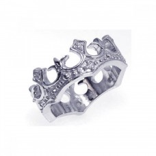 Wholesale Sterling Silver 925 Rhodium Plated CZ Crown Ring - STR00528
