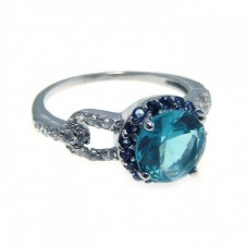 Sterling Silver Rhodium Plated Blue Center Cluster & Clear CZ Ring str00532