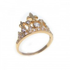 Wholesale Sterling Silver 925 Gold Plated CZ Tiara Crown Ring - STR00540