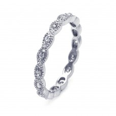 Wholesale Sterling Silver 925 Rhodium Plated CZ Stackable Eternity Ring - STR00542