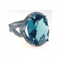 Sterling Silver Rhodium Plated Blue Center & Clear CZ Ring str00543