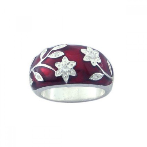 Wholesale Sterling Silver 925 Rhodium Plated Red Enamel CZ Flower Ring - STR00545