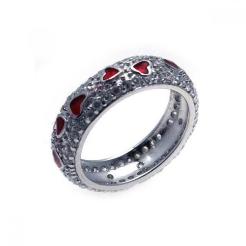 Wholesale Sterling Silver 925 Rhodium Plated Red Enamel Heart Pave Set CZ Eternity Ring - STR00549