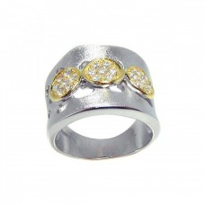**Closeout** Sterling Silver Rhodium & 3 Gold Plated Circle Matte Finish CZ Ring str00559