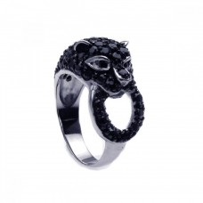 Sterling Silver Rhodium Plated Black-Clear CZ Black Panther Ring - STR00563