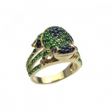 Sterling Silver Black-Gold Plated Multi Color CZ Frog Ring - STR00564
