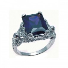 Sterling Silver Rhodium Plated Blue Square CZ Antique Ring str00567
