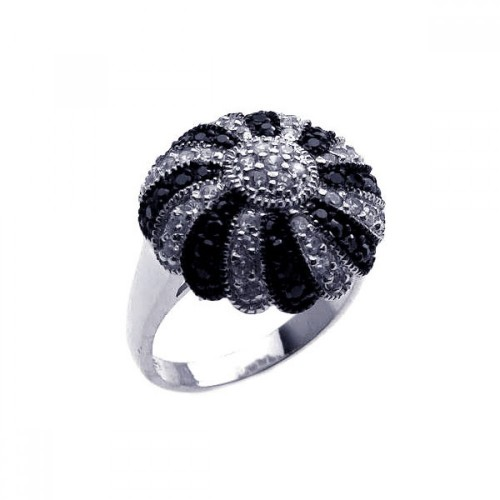 -Closeout- Wholesale Sterling Silver 925 Rhodium and Black Rhodium Plated Pave Set Black and Clear CZ Dome Ring - STR00568