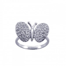 **Closeout** Sterling Silver Rhodium Plated Pave Set CZ Butterfly Ring - STR00570