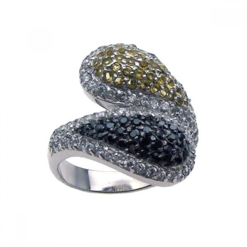 -Closeout- Wholesale Sterling Silver 925 Rhodium Plated Pave Set Clear Yellow and Black CZ Ring - STR00572
