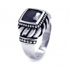**Closeout** Sterling Silver Oxidized Rhodium Plated Black Square CZ Ring str00573