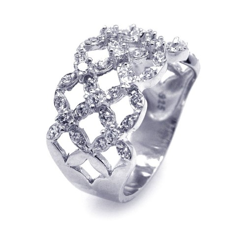 -Closeout- Wholesale Sterling Silver 925 Rhodium Plated CZ Open Flower Ring - STR00574