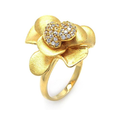 -Closeout- Wholesale Sterling Silver 925 Gold Plated Pave Set CZ Flower Ring - STR00575